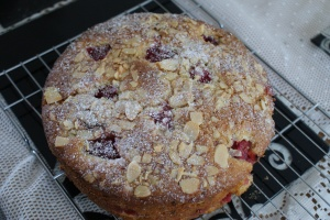 Raspberry and almond madeira cake