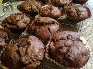 Triple chocolate chunk muffins