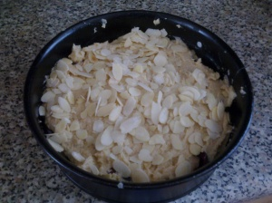 Cherry Bakewell cake mix in the tin