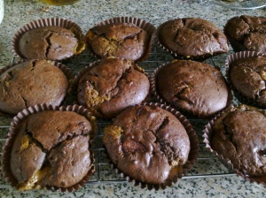 Milka chocolate and caramel muffins