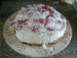 Coconut and raspberry cheesecake