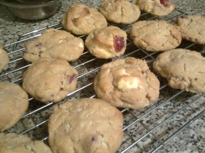 White chocolate, cherry coconut cookies