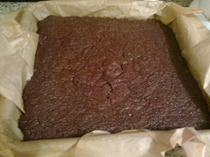 Toffee brownies in tin