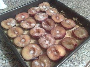 Plum cake, pre-baking