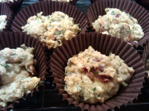 Feta and courgette muffins