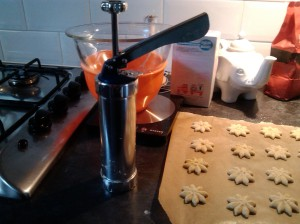My biscuit maker. Put the dough in, choose the right attachment and push down on the handle