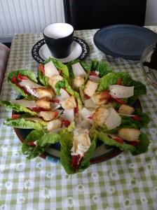 Housewarming afternoon tea mini Caesar salads