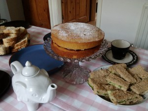 Housewarming afternoon tea Victoria sponge