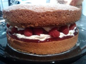 Raspberry and lemon layer cake