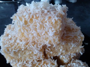 Honey and coconut lamingtons