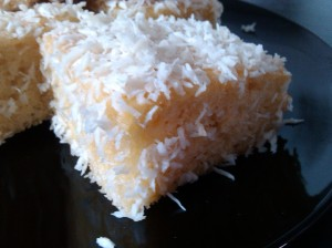 Honey and coconut lamingtons