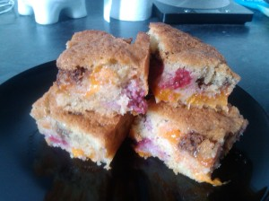 Apricot and raspberry buckle