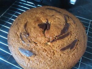 Chocolate orange and vanilla zebra cake