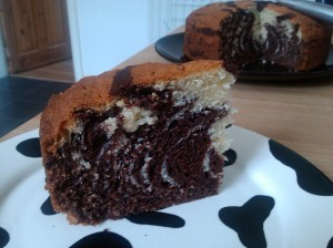 Chocolate orange and vanilla zebra cake