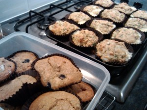 Raspberry and blueberry muffins and courgette and mozzarella muffins
