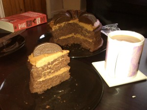 Chocolate orange cake with cream cheese icing