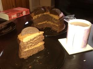 Chocolate orange cake with cream cheese icing