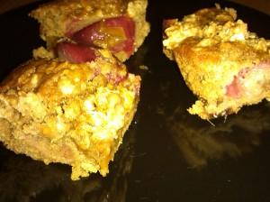 Oaty plum gingerbread slice