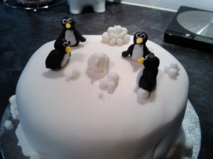 Not a Christmas cake - with penguins