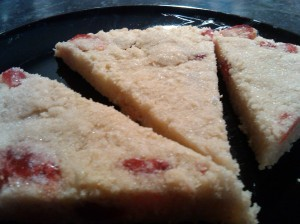 Cherry and almond shortbread 1
