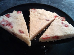 Cherry and almond shortbread